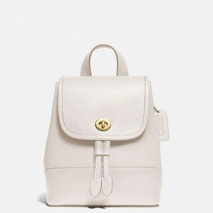 NEW Coach Turnlock Leather Backpack in Chalk